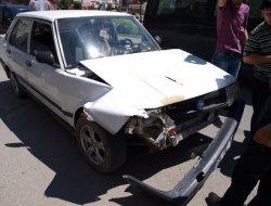 Bafra da maddi hasarlı kaza