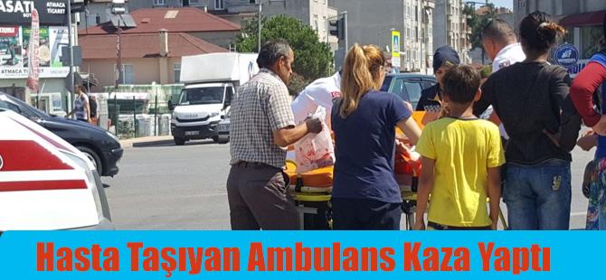 Bafra'da Hasta Taşıyan Ambulans Kaza Yaptı