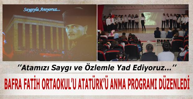 Fatih Ortaokulu Atatürk'ü Anma Programı Düzenledi
