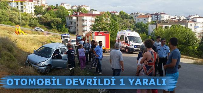 Sinop'ta otomobilin devrilmesi sonucu bir kişi yaralandı