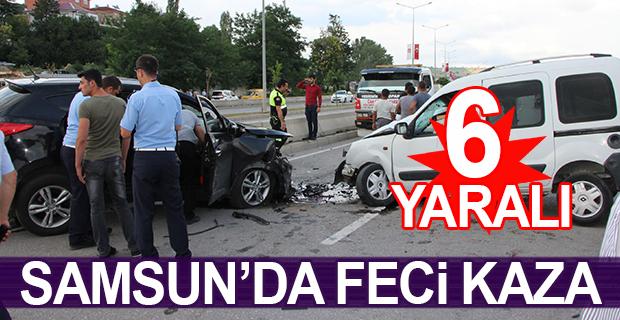 Samsun'da cip ile hafif ticari araç çarpıştı:6 yaralı