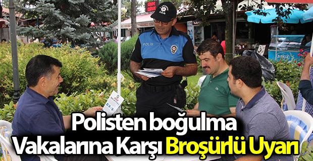 Polisten boğulma vakalarına karşı broşürlü uyarı