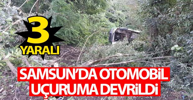 Samsun'da otomobil uçuruma devrildi: 3 yaralı