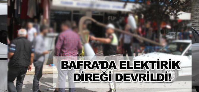 Bafra'da Elektirik Direği faciası atlatıldı.