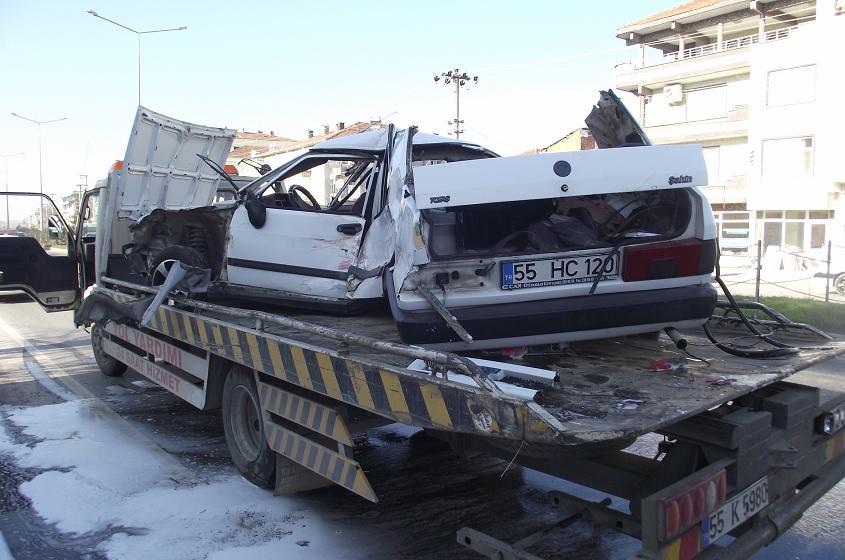 Bafra'da Trafik kazası 2 yaralı