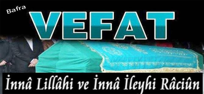 10 Şubat Pazar Bafra vefat ilanları
