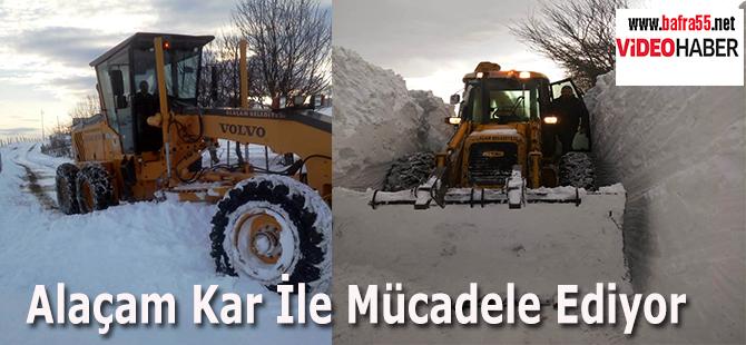 Alaçam Kar İle Mücadele Ediyor