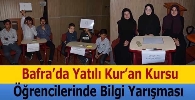 Bafra'da Yatılı Kur'an Kursu Öğrencilerinde Bilgi Yarışması