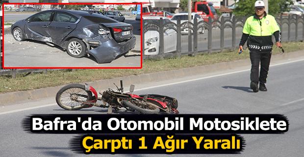 Bafra'da Otomobil Motosiklete Çarptı Sürücü Ağır Yaralı