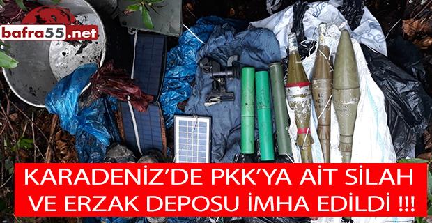 KARADENİZ'DE PKK'YA AİT SİLAH  VE ERZAK DEPOSU İMHA EDİLDİ !!!