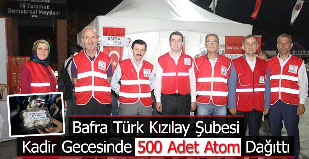 Bafra Türk Kızılay Şubesi Kadir Gecesinde 500 Adet Atom Dağıttı