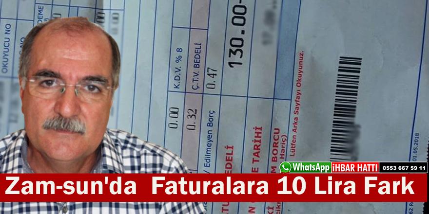 Samsun'da  Faturalara 10 Lira Zam