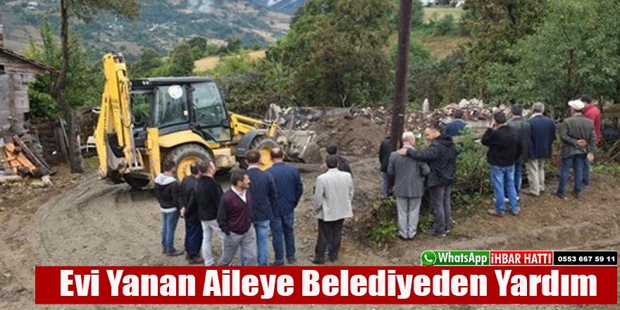 Evi Yanan Aileye Belediyeden Yardım