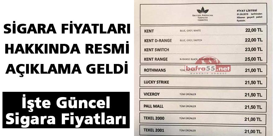 SİGARA FİYATLARI HAKKINDA RESMİ AÇIKLAMA GELDİ