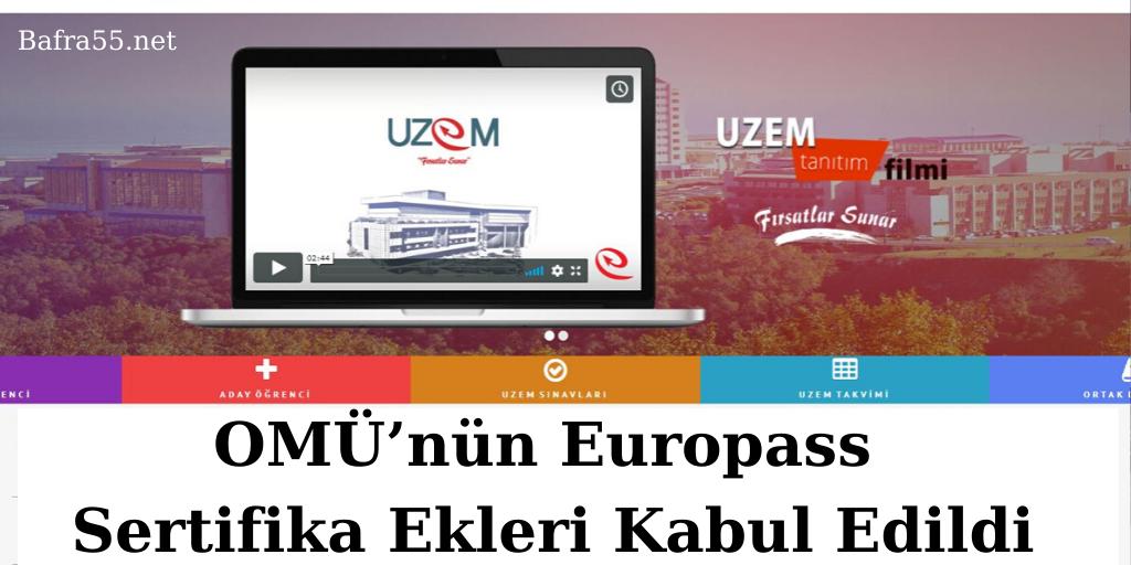 OMÜ'nün Europass Sertifika Ekleri Kabul Edildi