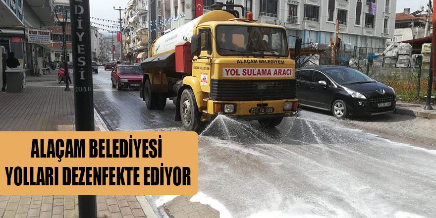 ALAÇAM BELEDİYESİ YOLLARI DEZENFEKTE EDİYOR
