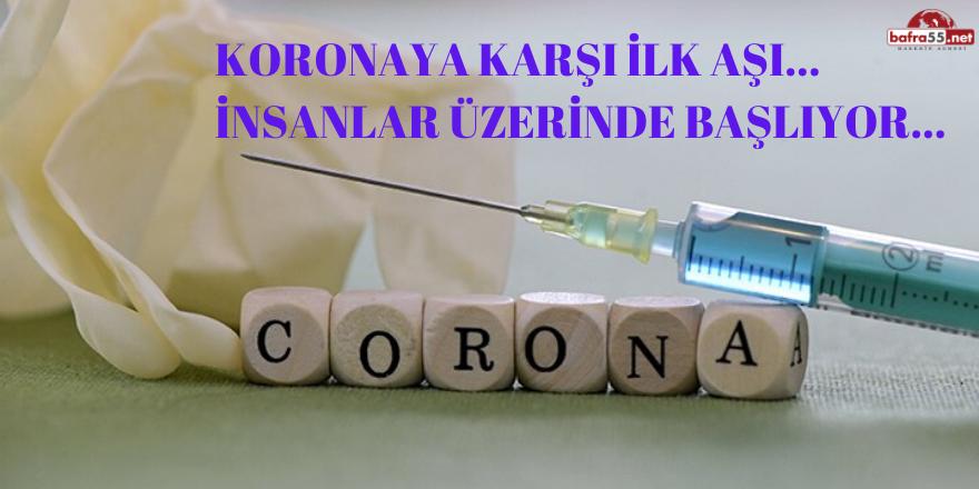 Koronaya karşı ilk aşı…  İnsanlar üzerinde başlıyor…