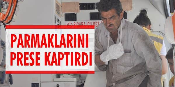 BAFRA DA PRESE ELİNİ KAPTIRAN ŞAHSIN PARMAKLARI KOPTU