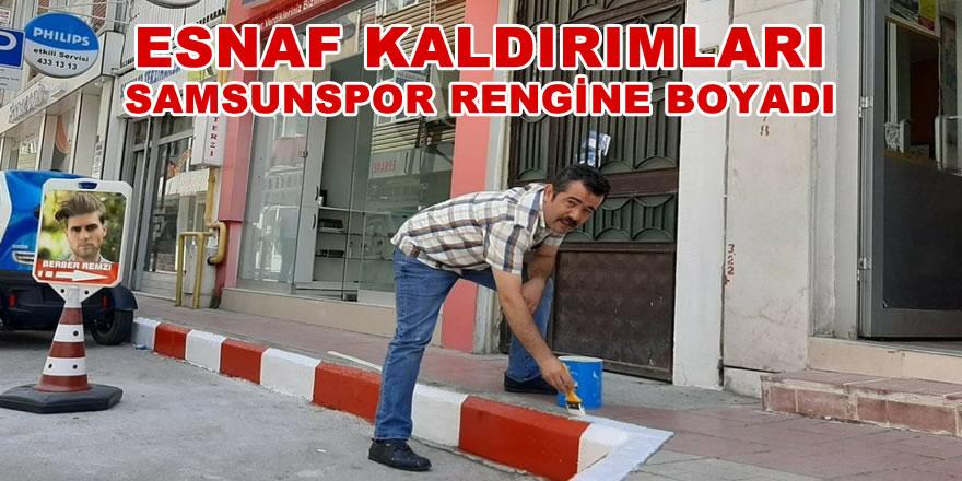 ESNAF KALDIRIMLARI SAMSUNSPOR RENGİNE BOYADI
