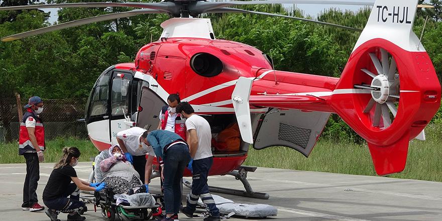 Ladik'de Kalp Krizi Geçiren Hastanın İmdadı ambulans helikopter yetişti