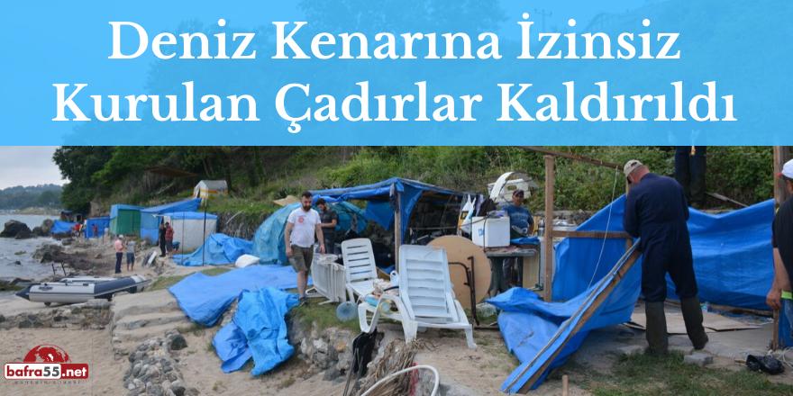Deniz Kenarına İzinsiz Kurulan Çadırlar Kaldırıldı
