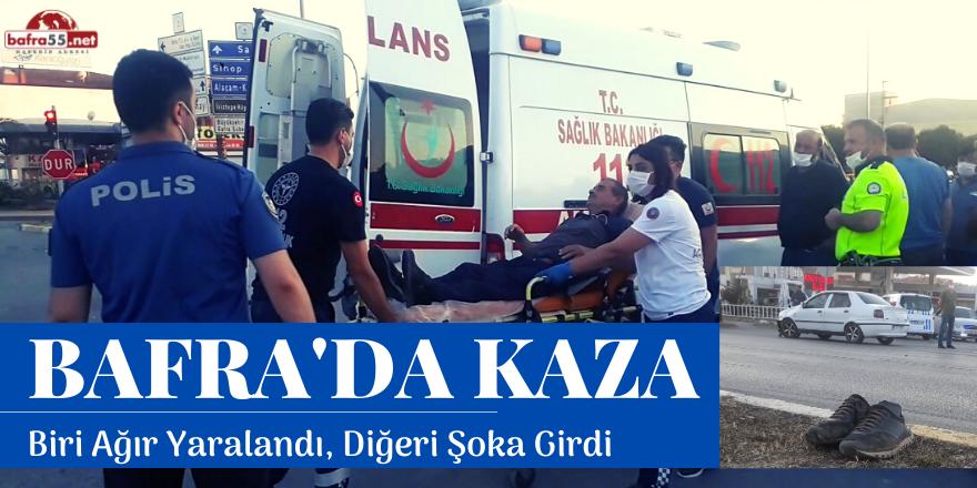 Bafra'da Otomobil ile Motosiklet Çarpıştı: 1 Yaralı