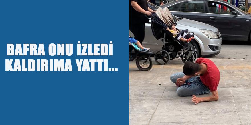BAFRA ONU İZLEDİ KALDIRIMA YATTI..