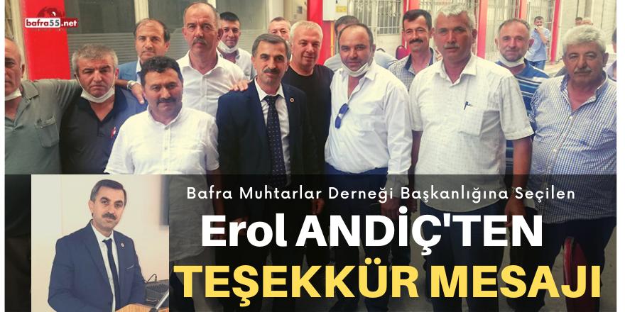 BAŞKAN ANDİÇ'TEN TEŞEKKÜR MESAJI...
