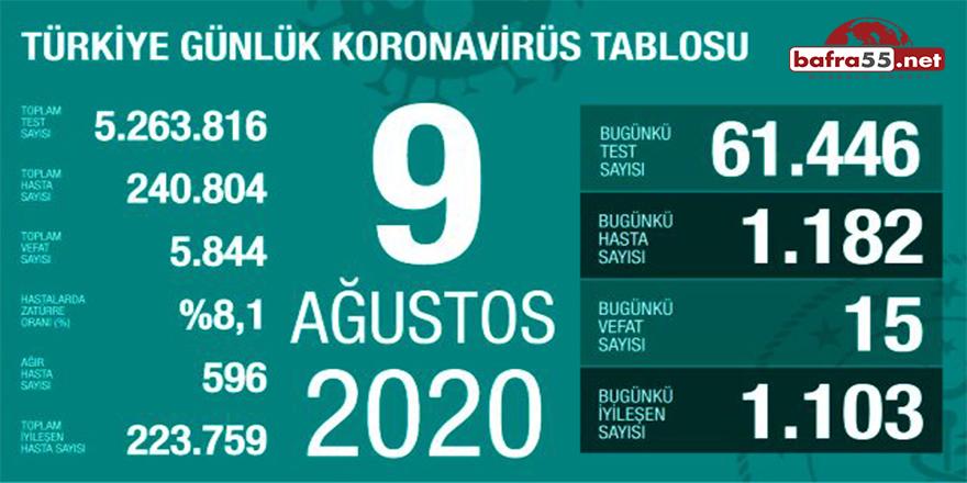 9 Ağustos 2020 Koronavirüs Tablosu