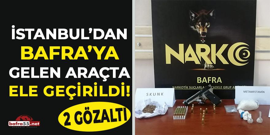 İstanbul'dan Bafra'ya gelen araçta uyuşturucu ve silah!
