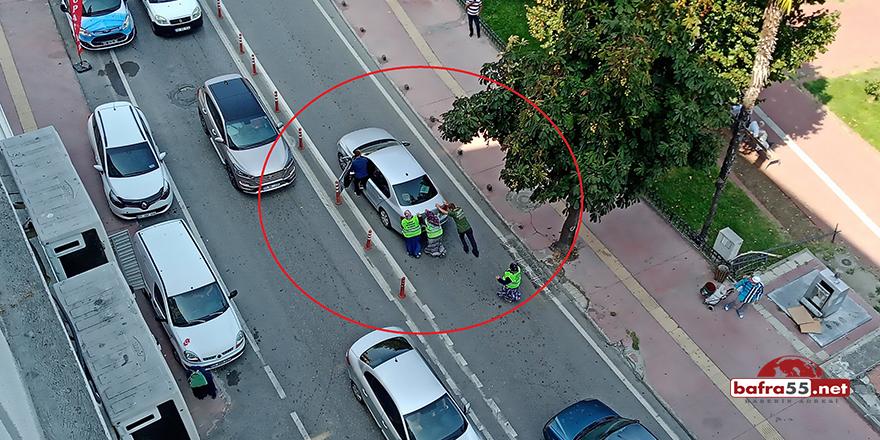 Aracı istop eden sürücünün yardımına 3 kadın işçi yetişti