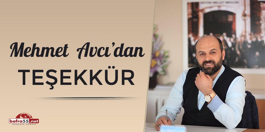 Mehmet Avcı'dan teşekkür
