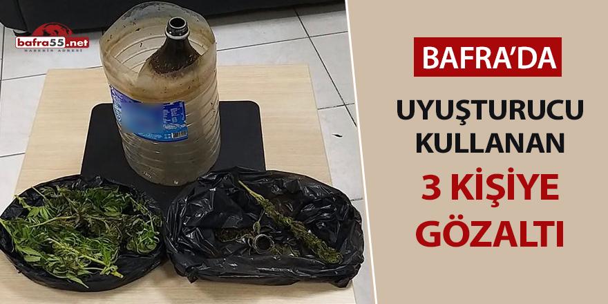 Bafra'da uyuşturucu kullanan 3 kişiye gözaltı