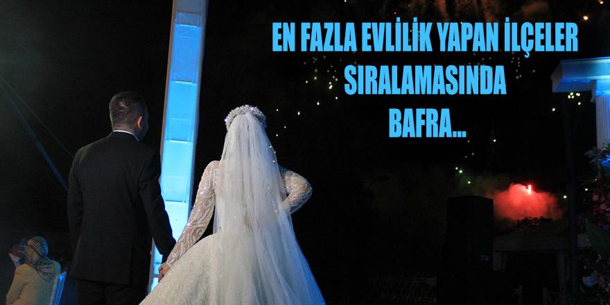 Samsun'da en fazla evlilik sırlamasında Bafra
