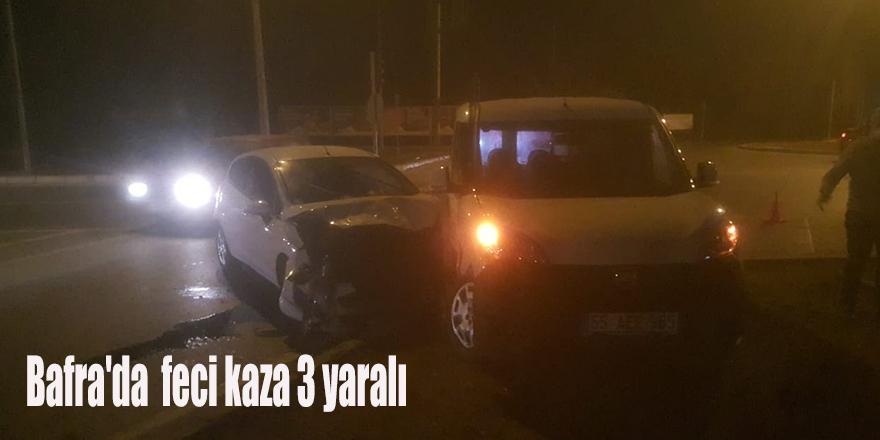 Bafra'da  feci kaza 3 yaralı