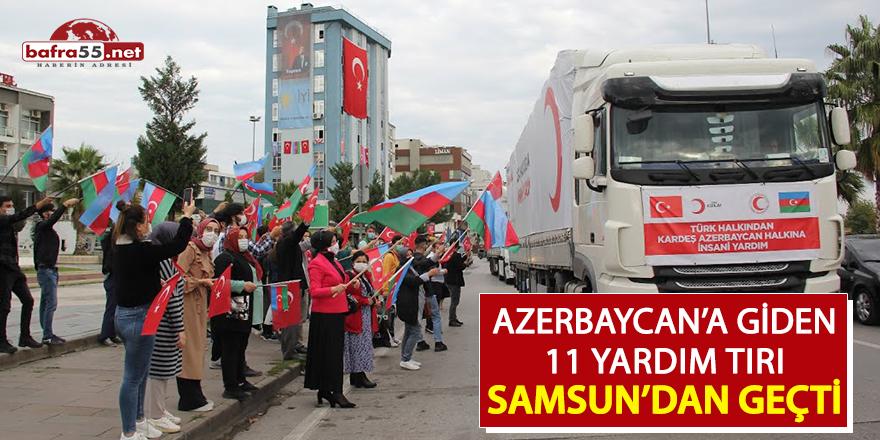 Azerbaycan'a giden 11 yardım tırı Samsun'dan geçti