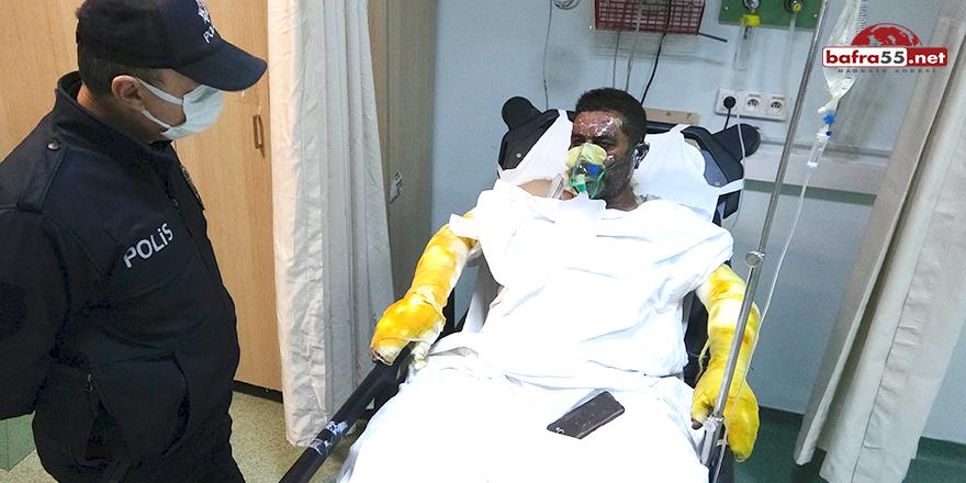 Ailesini alevlerin içinden kurtaran baba hastanelik oldu