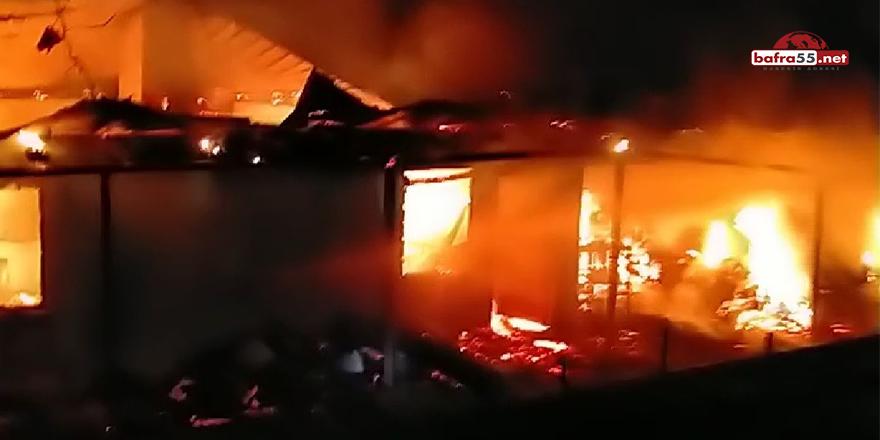 Bafra'da yangın paniği