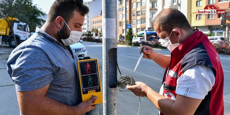 Trabzon'da yaya geçitlerindeki butonlar artık temassız