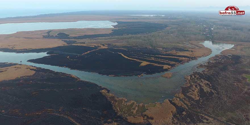 Simenit Gölü'ndeki sazlık alanda çıkan yangın söndü