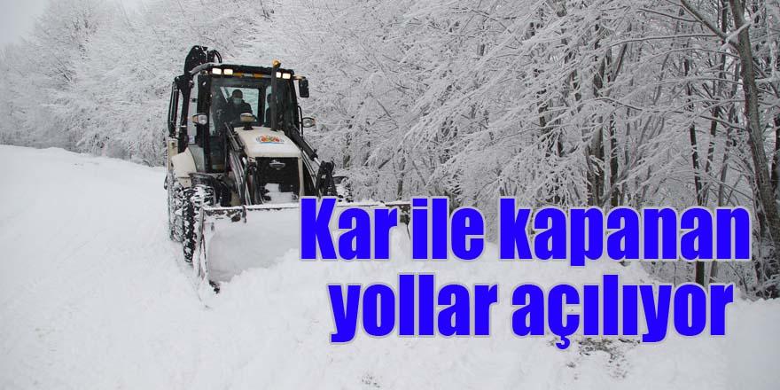 Kar ile kapanan yollar açılıyor