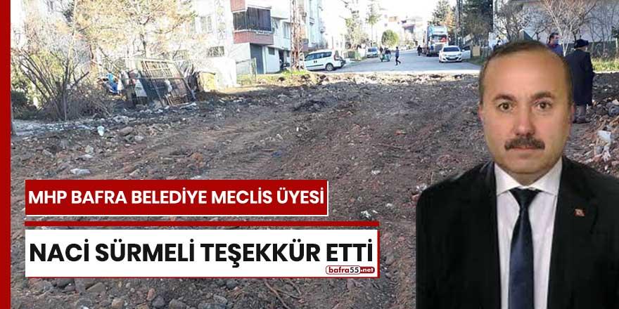MHP Bafra Meclis Üyesi Naci Sürmeli teşekkür etti