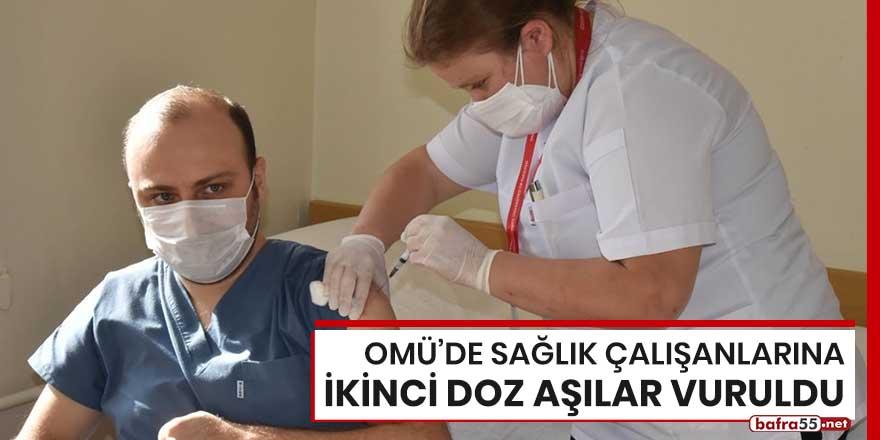 OMÜ'de sağlık çalışanlarına ikinci doz aşılar vuruldu