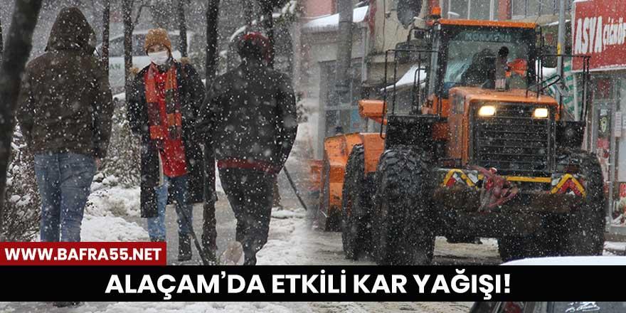 Alaçam'da etkili kar yağışı!
