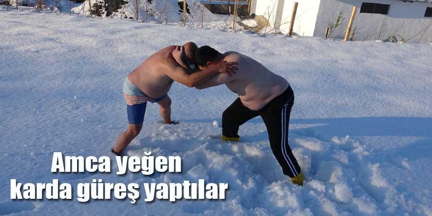 Amca yeğen karda güreş yaptılar