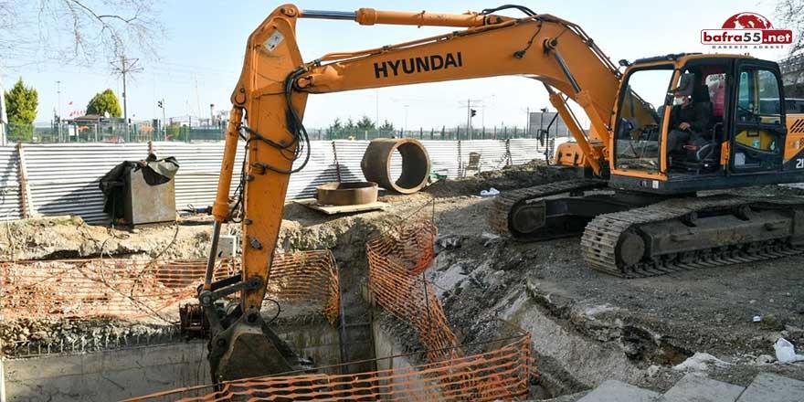 Büyükşehir Belediyesi Canik'te yaşanan su baskınları dönemini kapatıyor