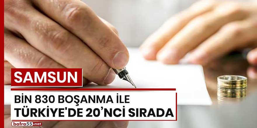 Samsun bin 830 boşanma ile Türkiye'de 20'nci sırada
