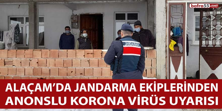 Alaçam'da Jandarma Ekiplerinden anonslu korona virüs uyarısı