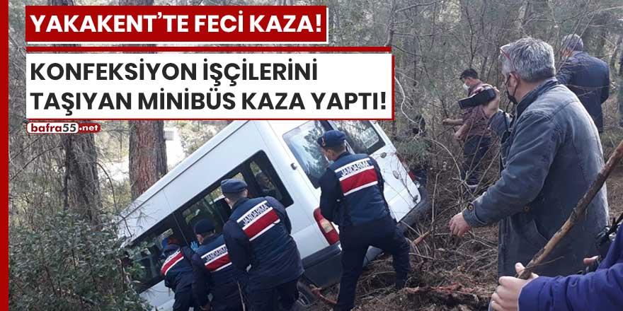 Yakakent'te konfeksiyon işçilerini taşıyan minibüs kaza yaptı!