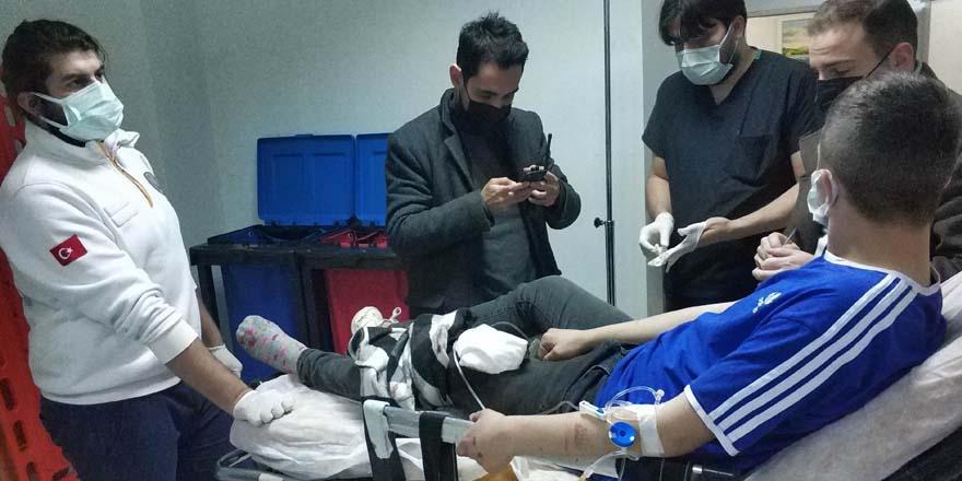 Saldırıya uğrayan genç  hastaneye kaldırıldı
